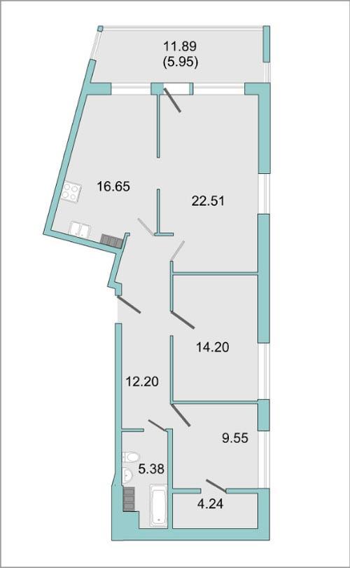 Планировка Трёхкомнатная квартира площадью 85.2 кв.м в ЖК «Mistola Hills»