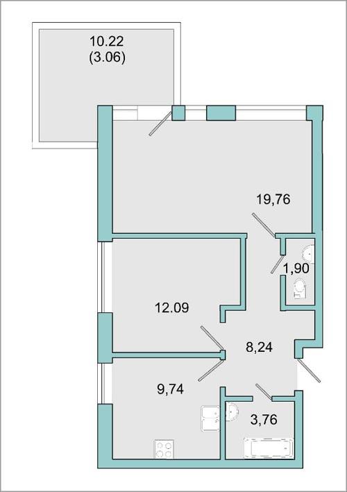 Планировка Двухкомнатная квартира площадью 55.7 кв.м в ЖК «Mistola Hills»