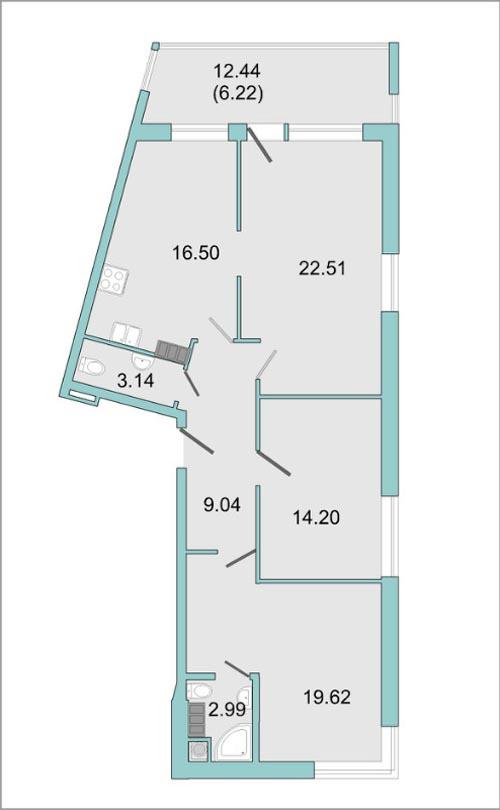 Планировка Трёхкомнатная квартира площадью 88.6 кв.м в ЖК «Mistola Hills»