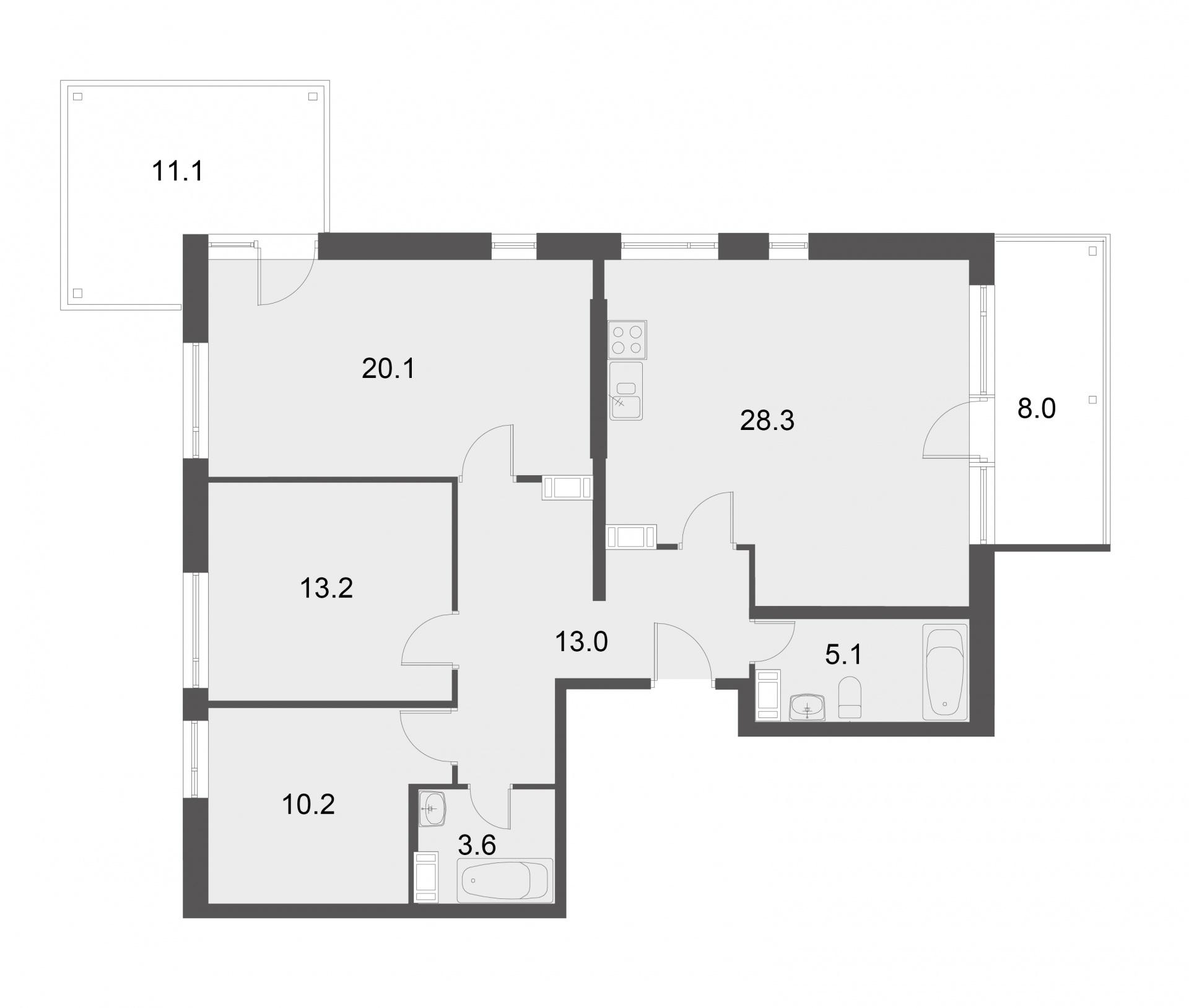 Планировка Трёхкомнатная квартира площадью 93.5 кв.м в ЖК «Mistola Hills»