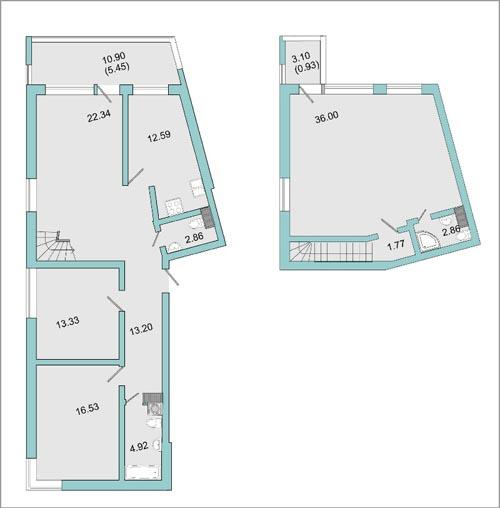 Планировка Четырёхкомнатная квартира площадью 128.7 кв.м в ЖК «Mistola Hills»