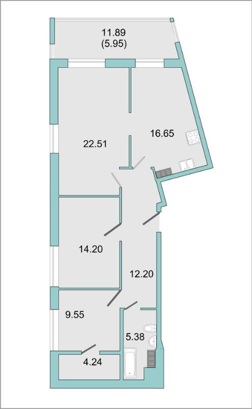 Планировка Трёхкомнатная квартира площадью 82.2 кв.м в ЖК «Mistola Hills»
