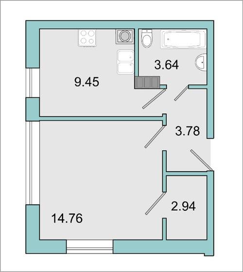 Планировка Однокомнатная квартира площадью 34.4 кв.м в ЖК «Mistola Hills»