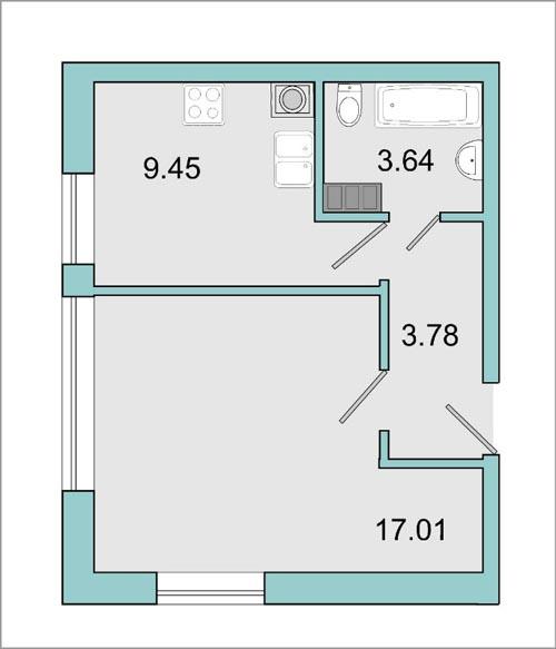 Планировка Однокомнатная квартира площадью 34.6 кв.м в ЖК «Mistola Hills»