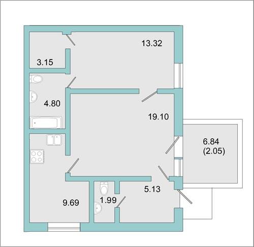 Планировка Двухкомнатная квартира площадью 57.7 кв.м в ЖК «Mistola Hills»