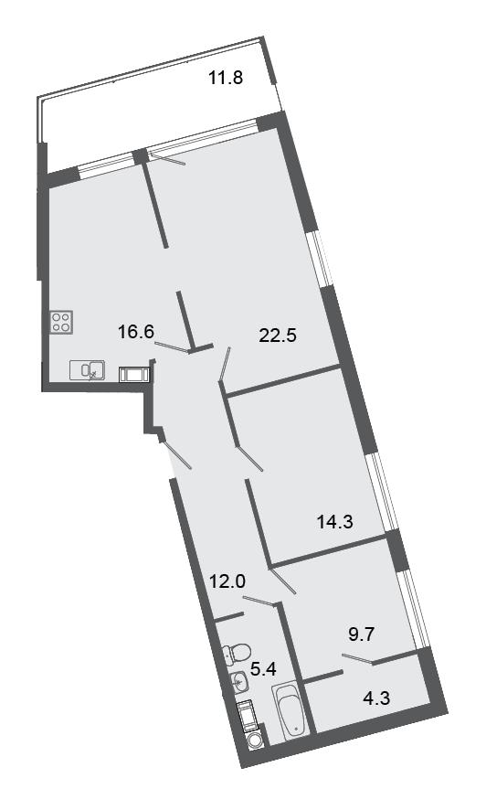 Планировка Трёхкомнатная квартира площадью 84.8 кв.м в ЖК «Mistola Hills»