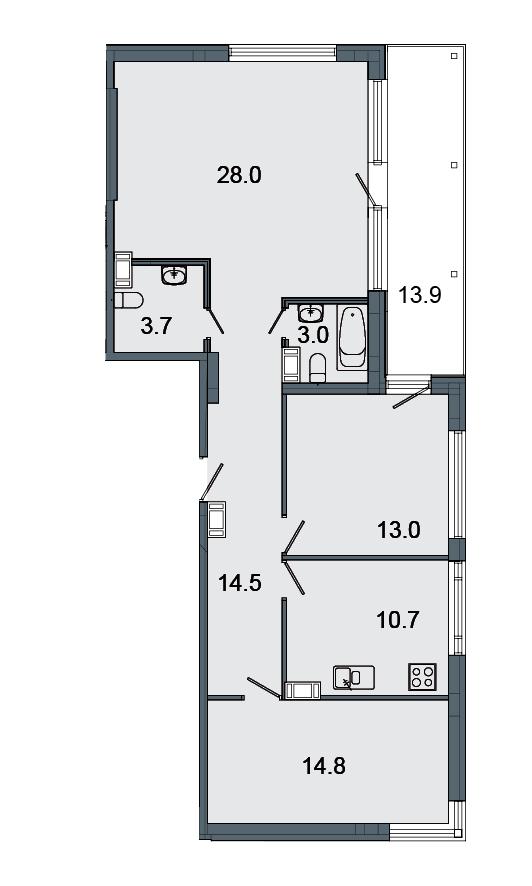 Планировка Трёхкомнатная квартира площадью 87.7 кв.м в ЖК «Mistola Hills»
